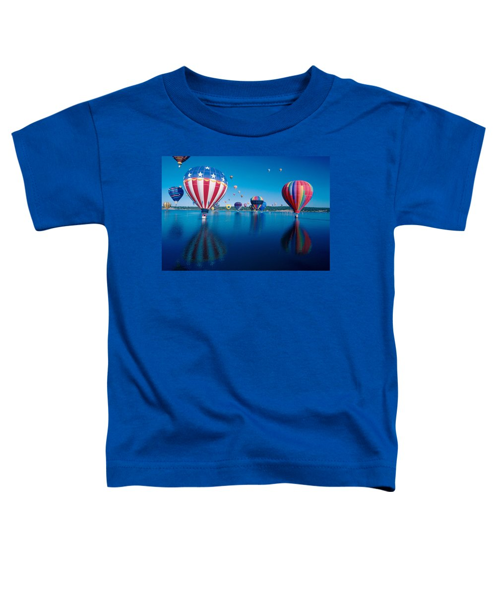 Hot Air Balloons Toddler T-Shirt featuring the photograph Patriotic Hot Air Balloon by Jerry McElroy