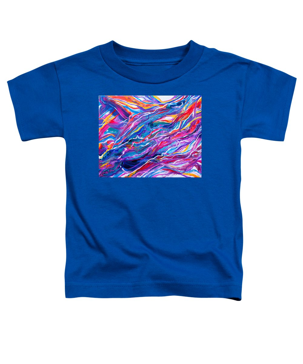 Filaments Lines Strokes Rushing Water Full Of Vibrant Color And Dynamic Movement Energy Contemporary Original Abstract Toddler T-Shirt featuring the painting Playful stream by Priscilla Batzell Expressionist Art Studio Gallery