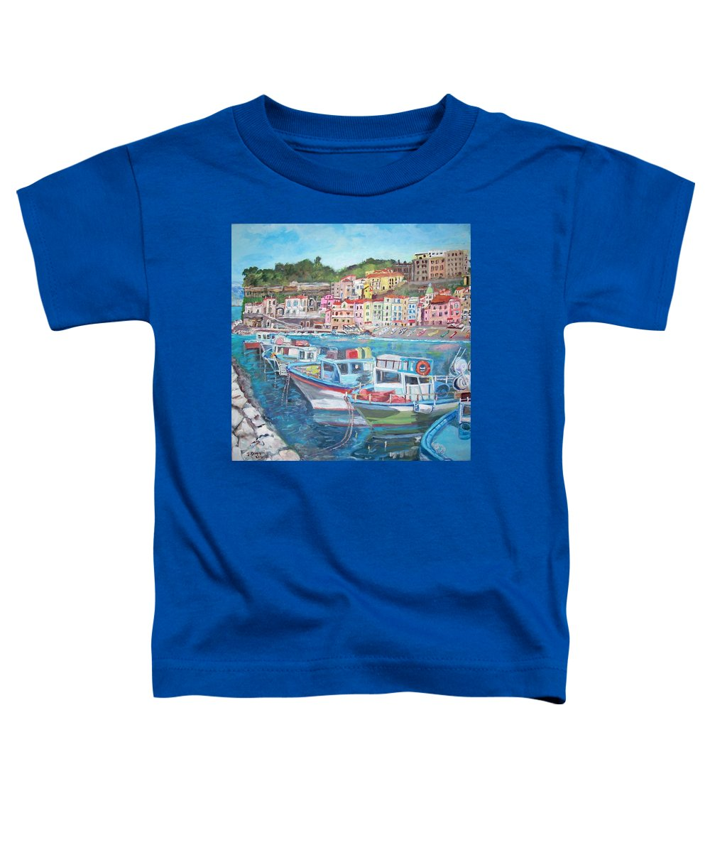Marina Toddler T-Shirt featuring the painting Port Of The Marina Grande by Teresa Dominici