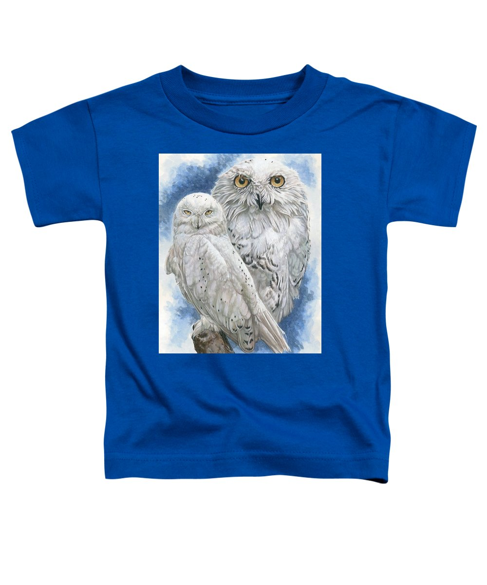 Snowy Owl Toddler T-Shirt featuring the mixed media Radiant by Barbara Keith