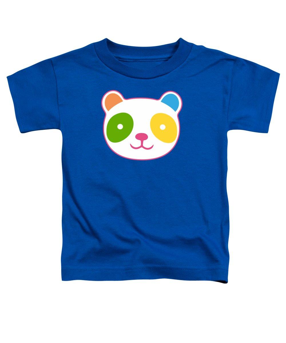 Panda Toddler T-Shirt featuring the digital art Rainbow Panda by Julia Jasiczak