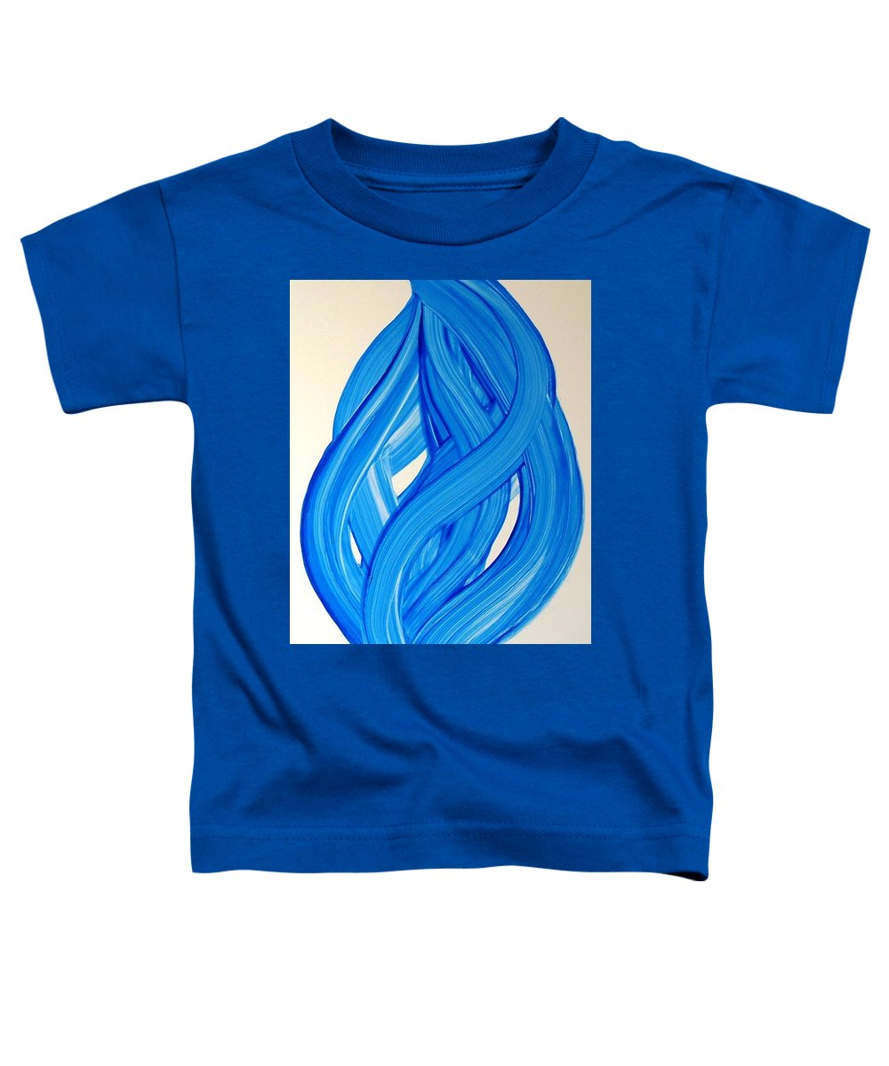 Abstract Modern Contemporary Yupo Art Painting Romantic Pop Blue Toddler T-Shirt featuring the painting Ribbons Of Love-blue by Manjiri Kanvinde