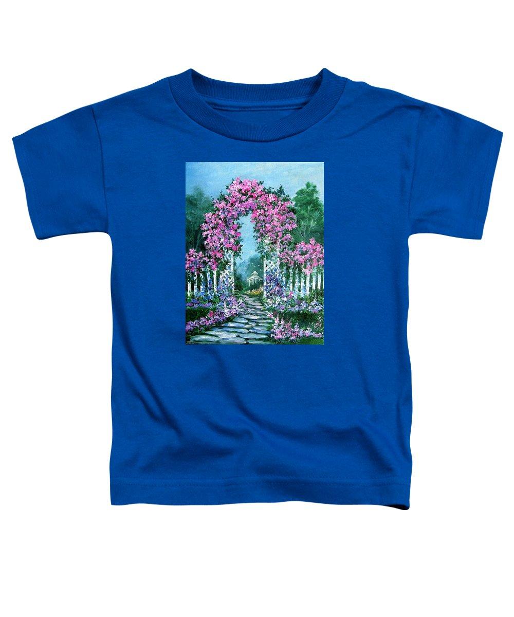 Roses;floral;garden;picket Fence;arch;trellis;garden Walk;flower Garden; Toddler T-Shirt featuring the painting Rose-covered Trellis by Lois Mountz