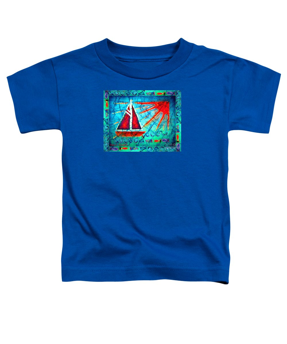 Sailboat Toddler T-Shirt featuring the painting Sailboat In The Sun by Sue Duda