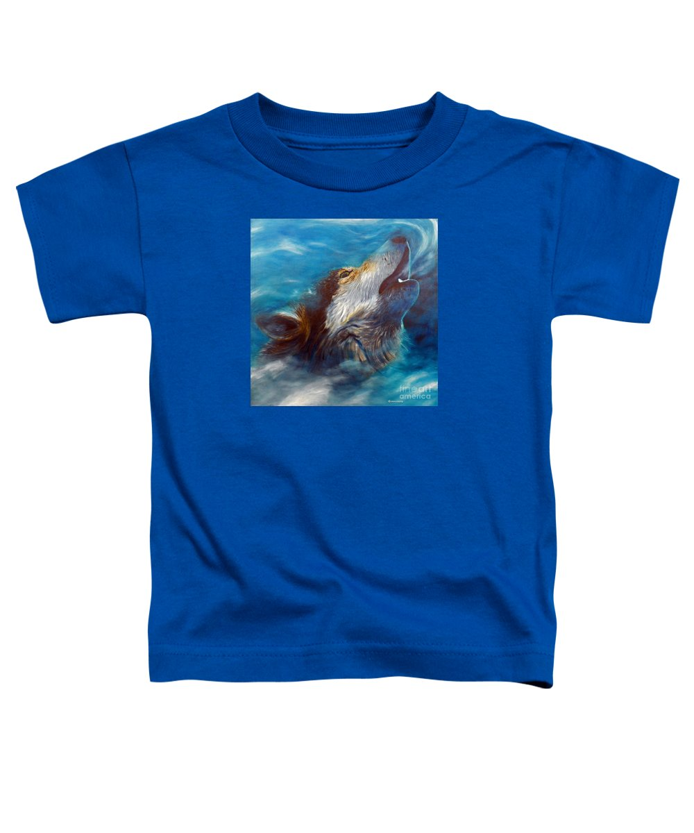 Wolf Toddler T-Shirt featuring the painting Spirit Of The Wolf by Brian Commerford