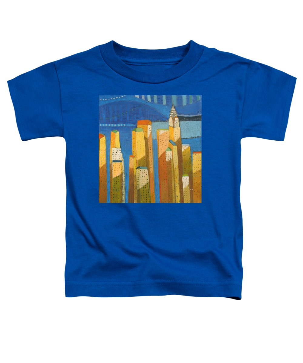 Abstract Cityscape Toddler T-Shirt featuring the painting Standing High by Habib Ayat