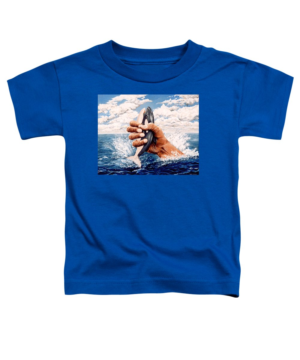 Surreal Toddler T-Shirt featuring the painting Stop Whaling by Mark Cawood