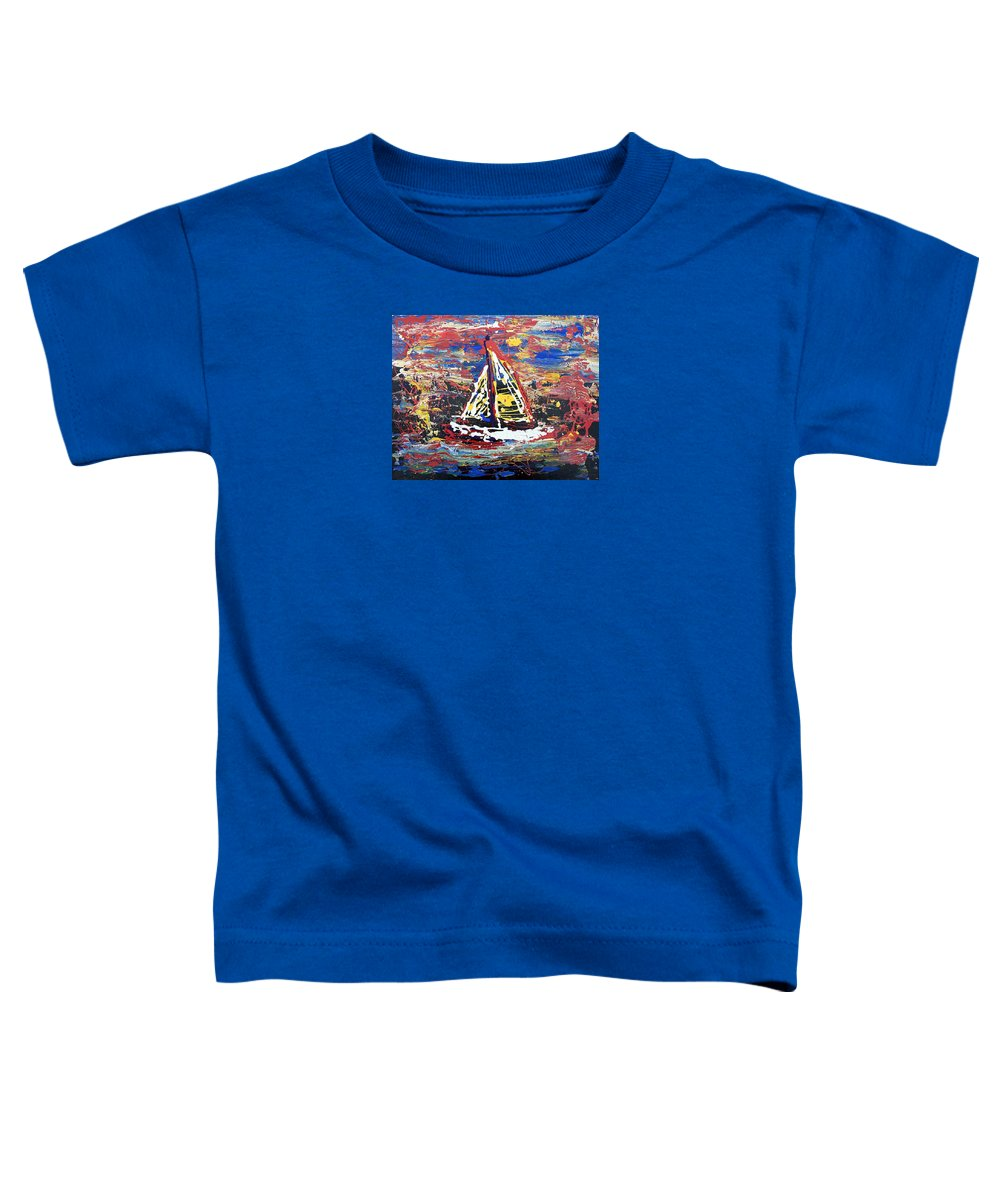 Abstract Art Toddler T-Shirt featuring the painting Sunset On The Lake by J R Seymour