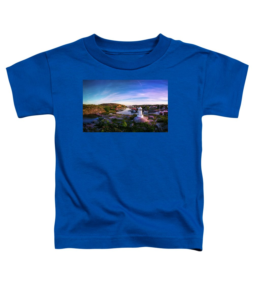 Drone Toddler T-Shirt featuring the photograph Sunset Over Old Fishing Port - Aerial Photography by Nicklas Gustafsson