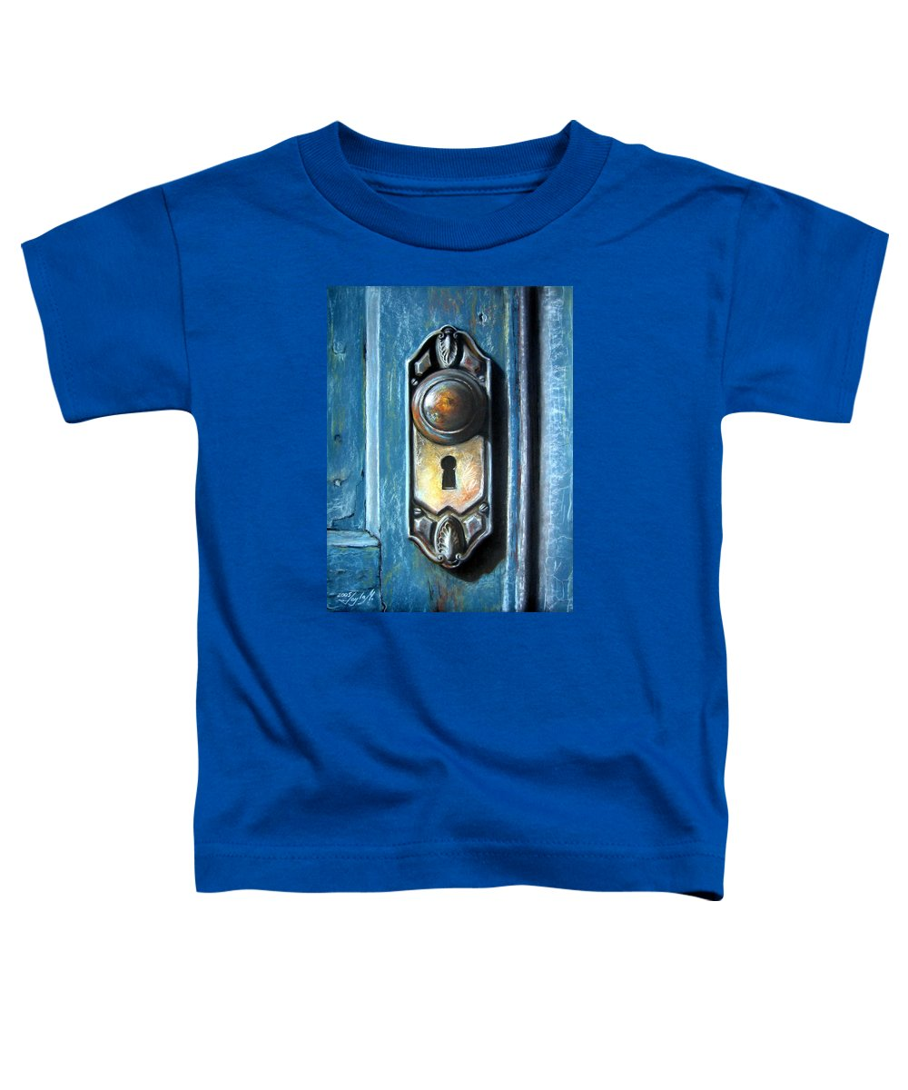 Door Knob Toddler T-Shirt featuring the painting The Door Knob by Leyla Munteanu