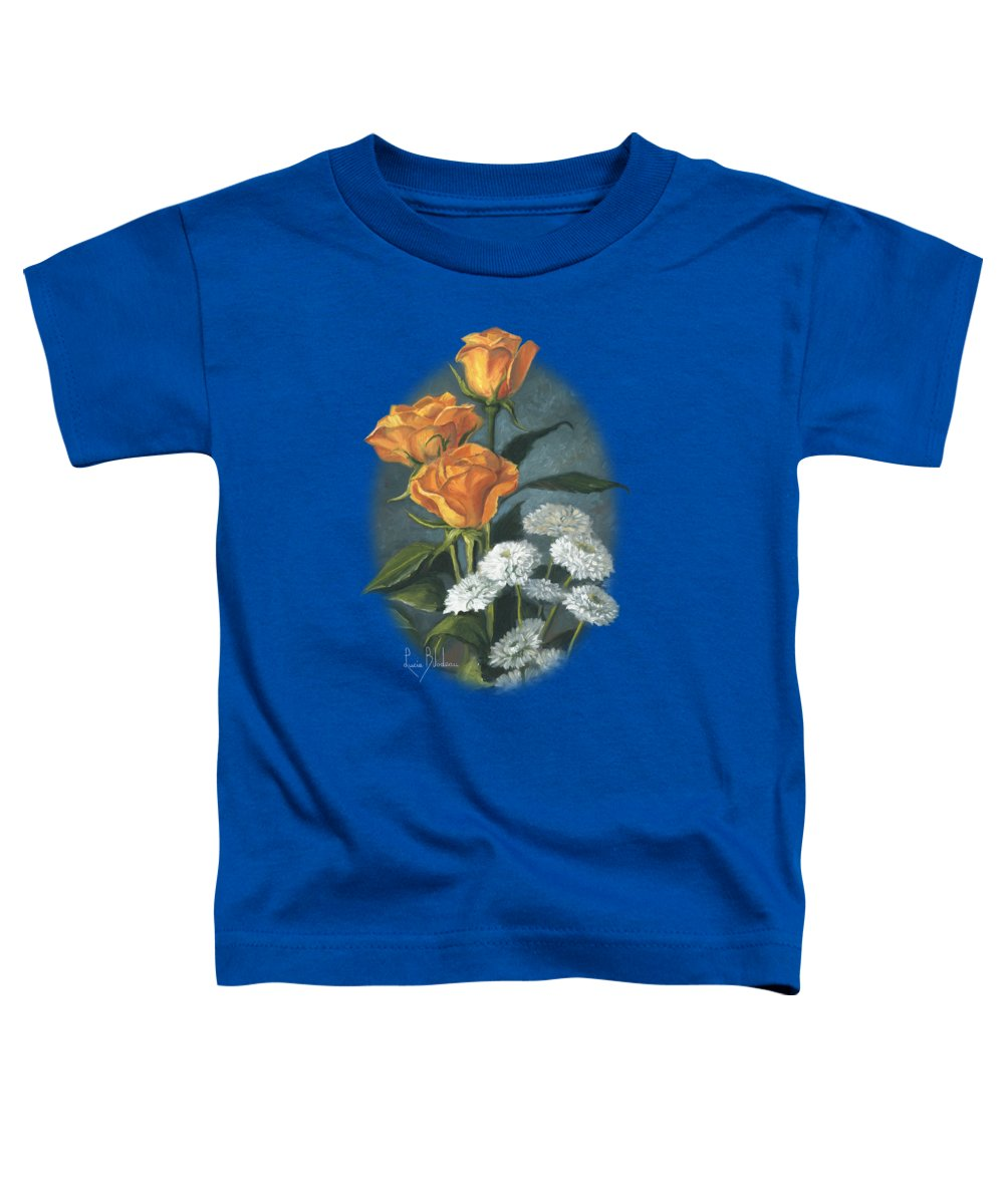 Flower Toddler T-Shirt featuring the painting Three Roses by Lucie Bilodeau