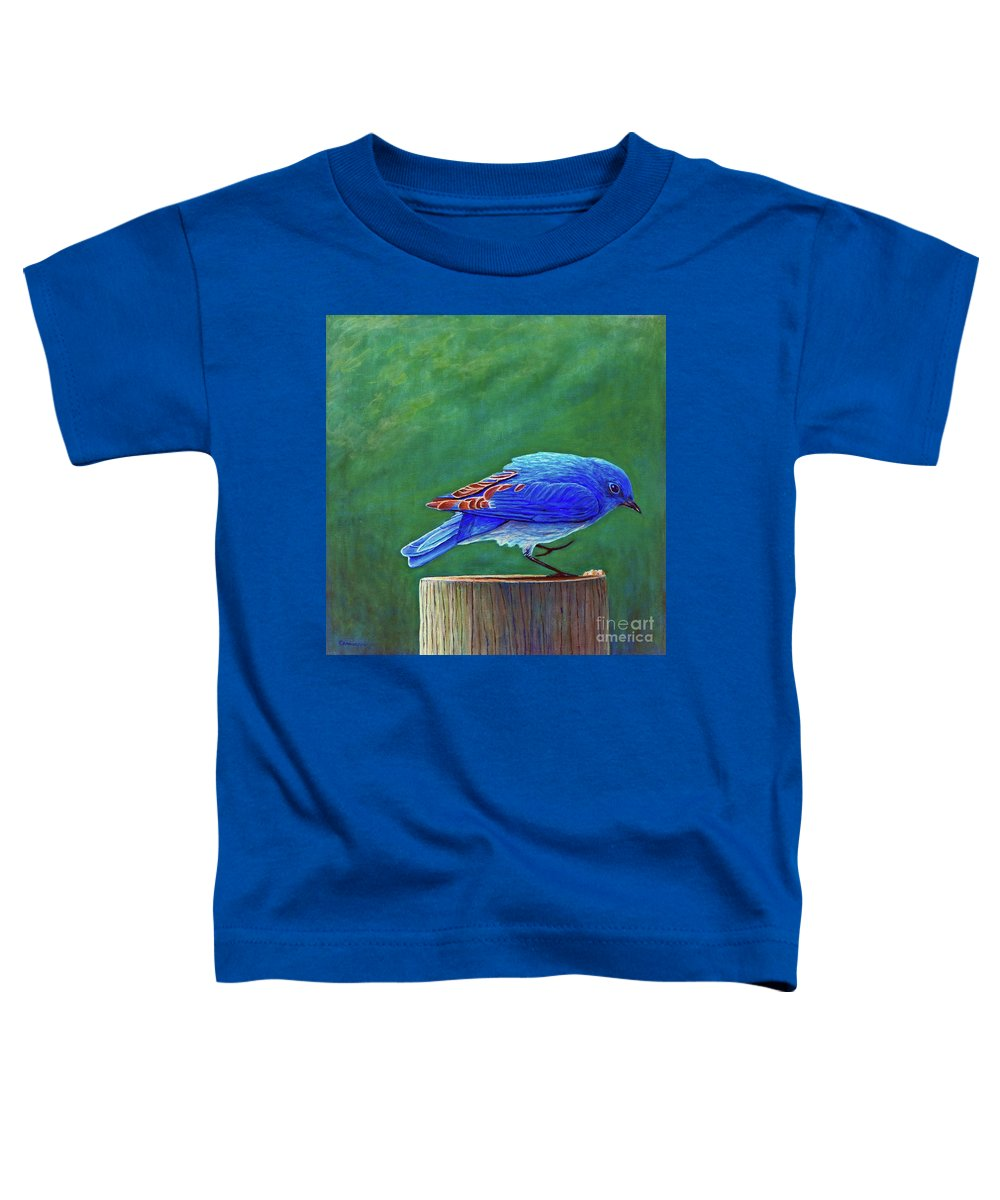 Bluebird Toddler T-Shirt featuring the painting Two Step by Brian Commerford