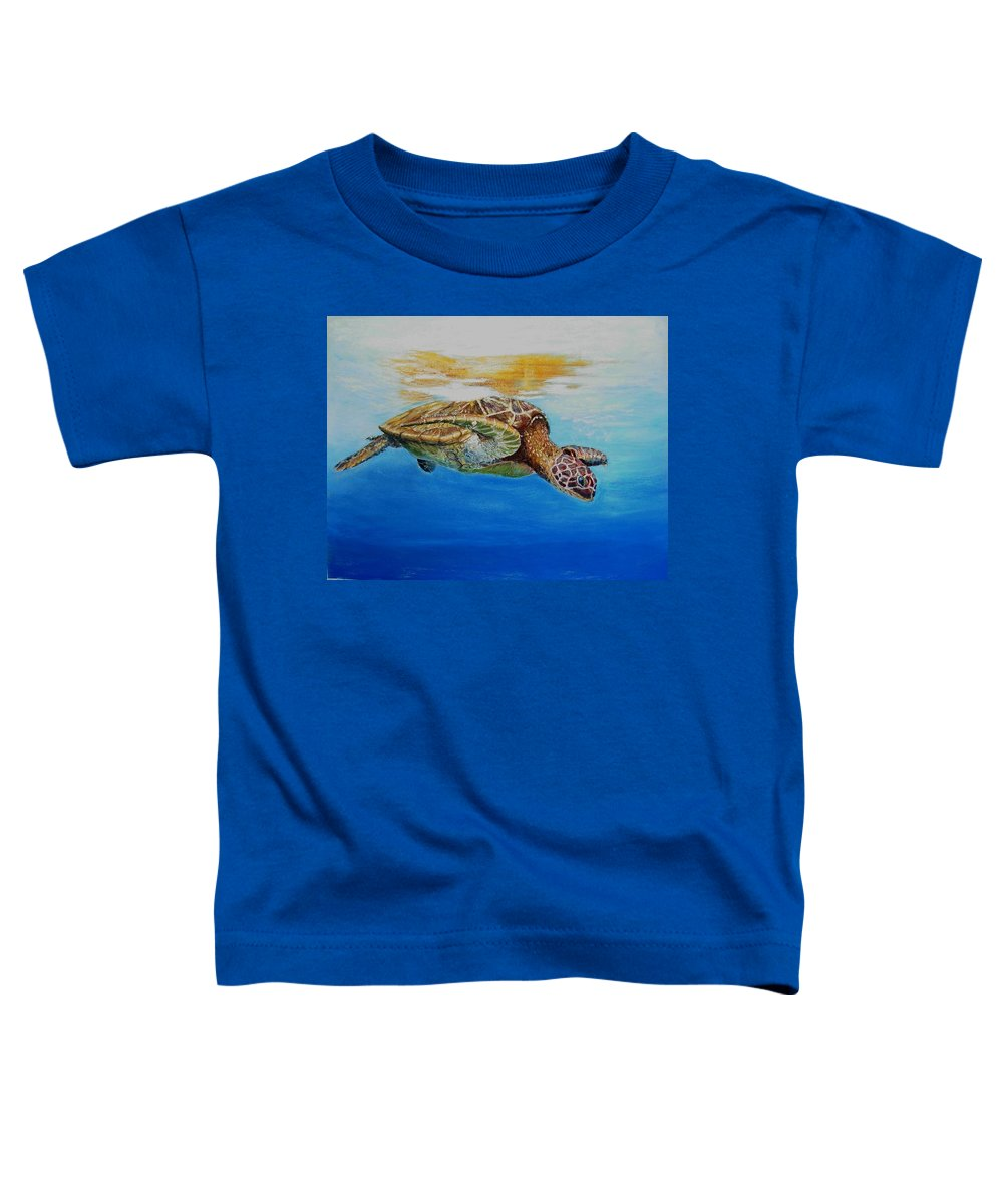 Wildlife Toddler T-Shirt featuring the painting Up For Some Rays by Ceci Watson