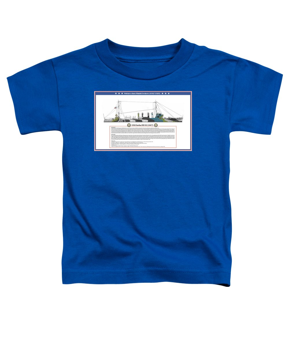 Destroyer Toddler T-Shirt featuring the painting USS Fairfax DD 93 by The Collectioner