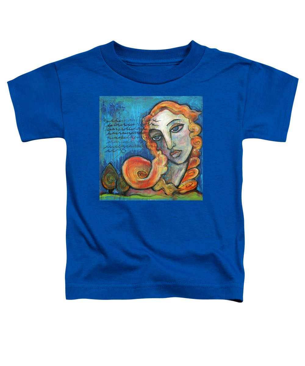 Venus Toddler T-Shirt featuring the painting Venus Lets Go by Laurie Maves ART