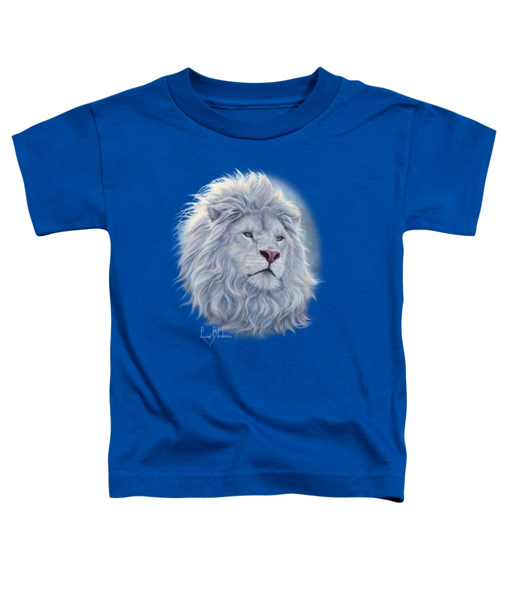 White Lion Toddler T-Shirt featuring the painting White Lion by Lucie Bilodeau