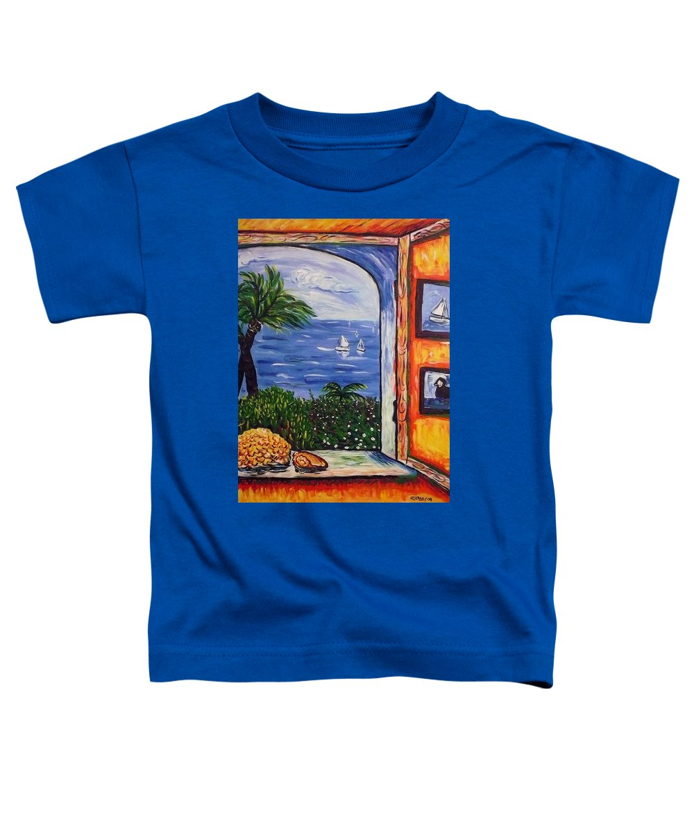 Landscape Toddler T-Shirt featuring the painting Window With Coral by Ericka Herazo