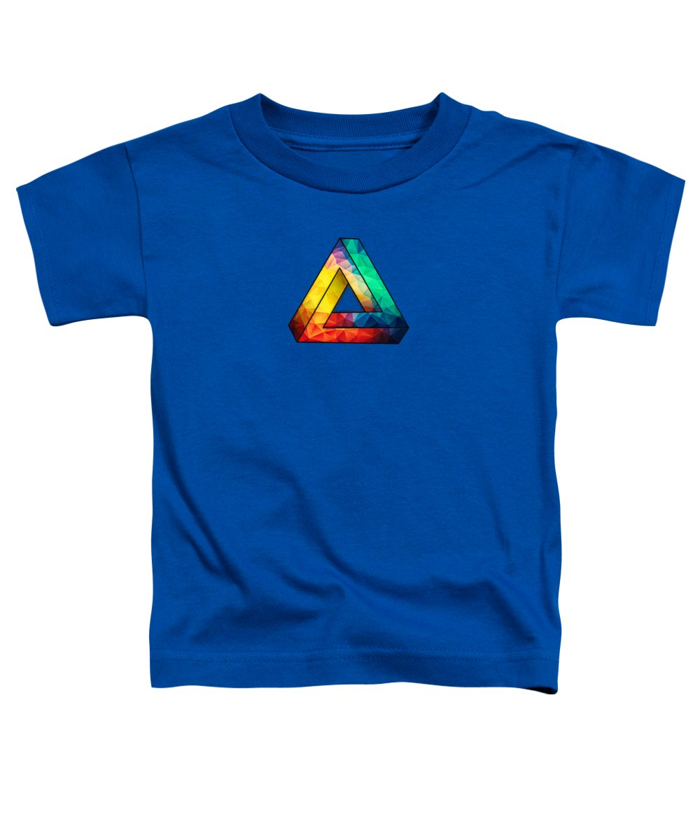 Colorful Toddler T-Shirt featuring the digital art Abstract Polygon Multi Color Cubism Low Poly Triangle Design by Philipp Rietz