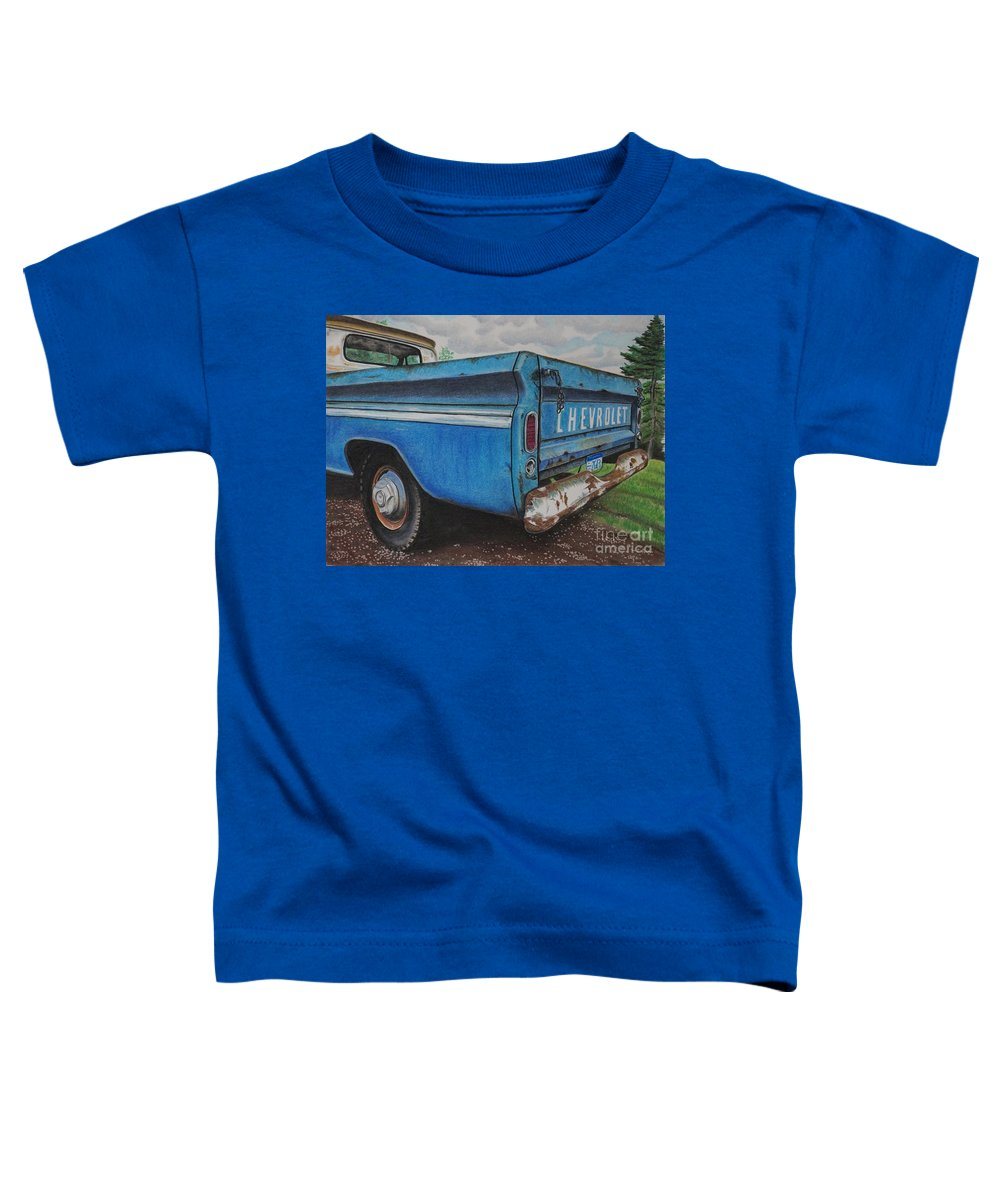 Wall Art Toddler T-Shirt featuring the pastel Old Blue by Chris Naggy