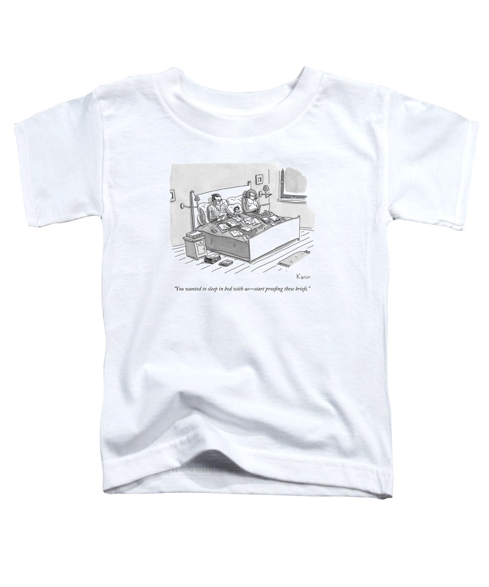 Parents Toddler T-Shirt featuring the drawing A Boy Lays In Bed Between His Parents by Zachary Kanin