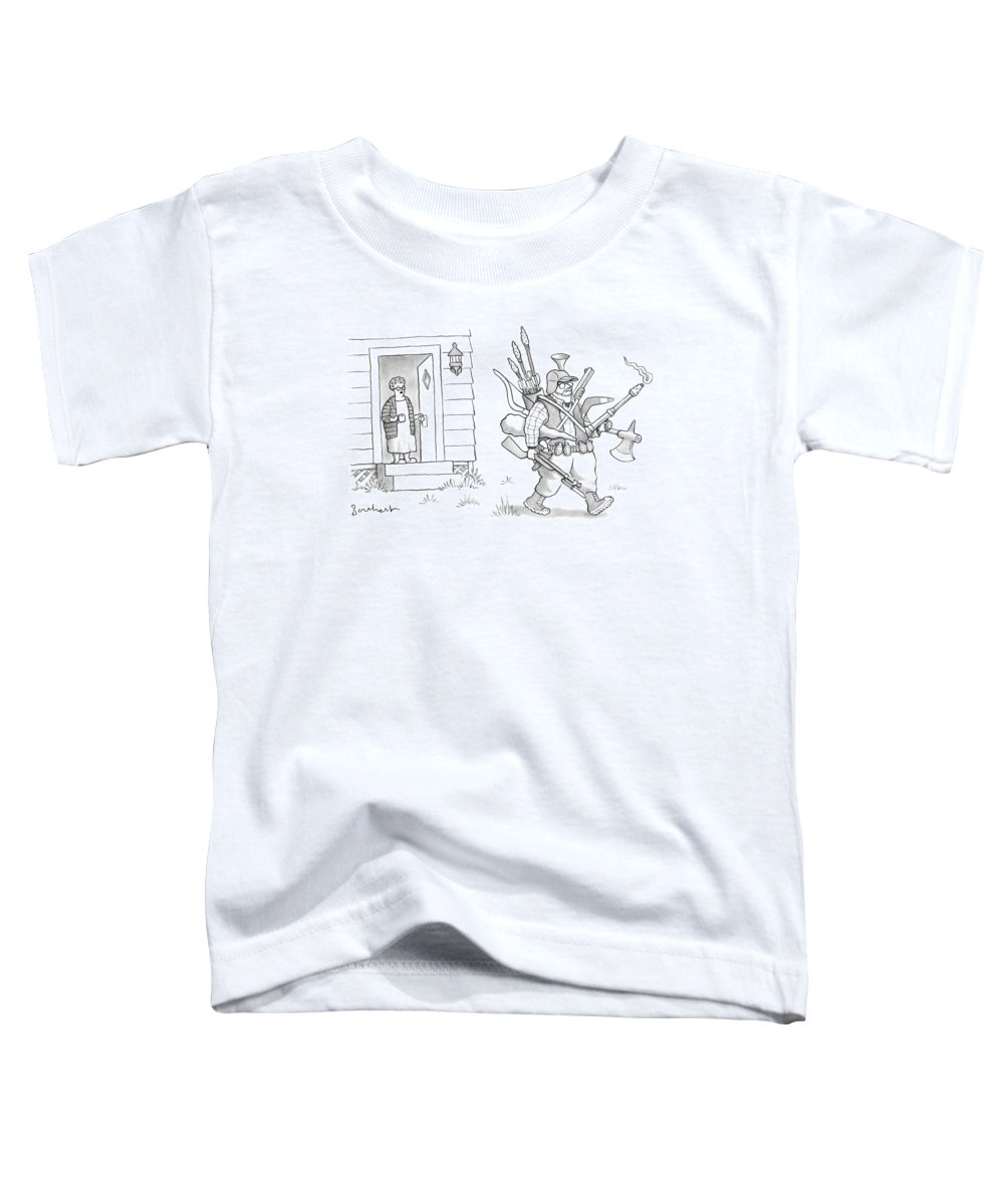 #condenastnewyorkercartoon Toddler T-Shirt featuring the drawing An Elderly Woman Calls Out From The Front Door by David Borchart