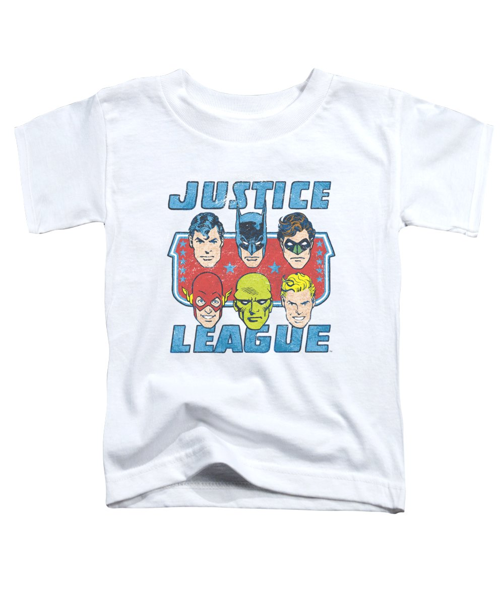 Justice League Toddler T-Shirt featuring the digital art Dc - Faces Of Justice by Brand A