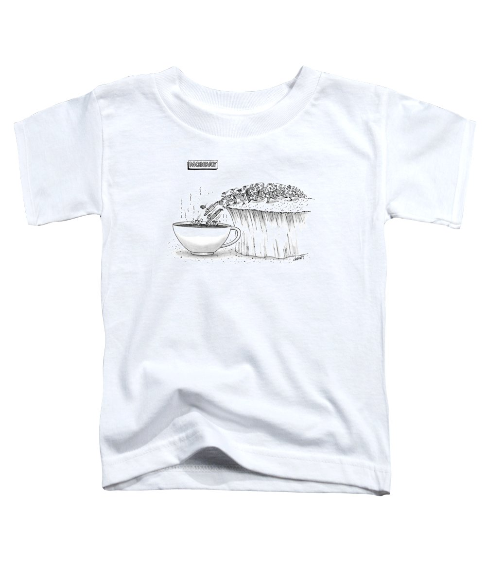 Drugs Caffiene Lemmings  (monday Morning Commuters Jumping Off Ledge Toddler T-Shirt featuring the drawing Monday by Tom Cheney