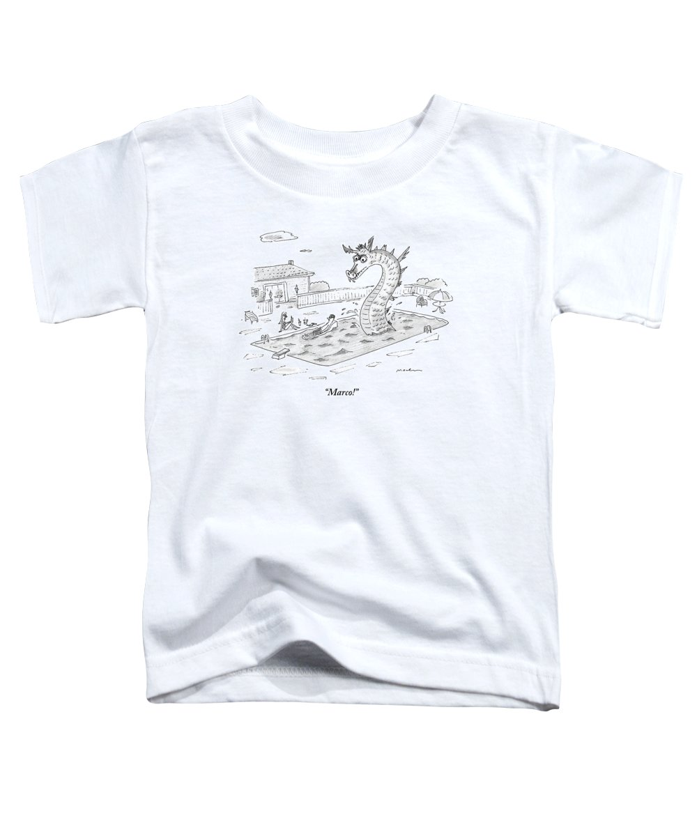 Swimming Pools Toddler T-Shirt featuring the drawing Woman Speaks To Man In A Pool With The Lochness by Michael Maslin