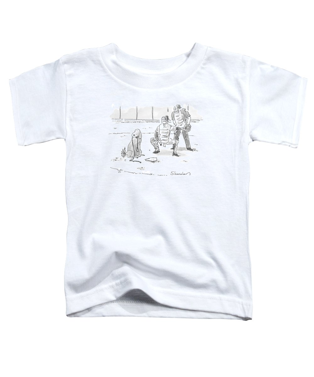 Sports Pets Dogs Baseball Homeplate Walk Toddler T-Shirt featuring the drawing New Yorker October 10th, 2005 by Danny Shanahan