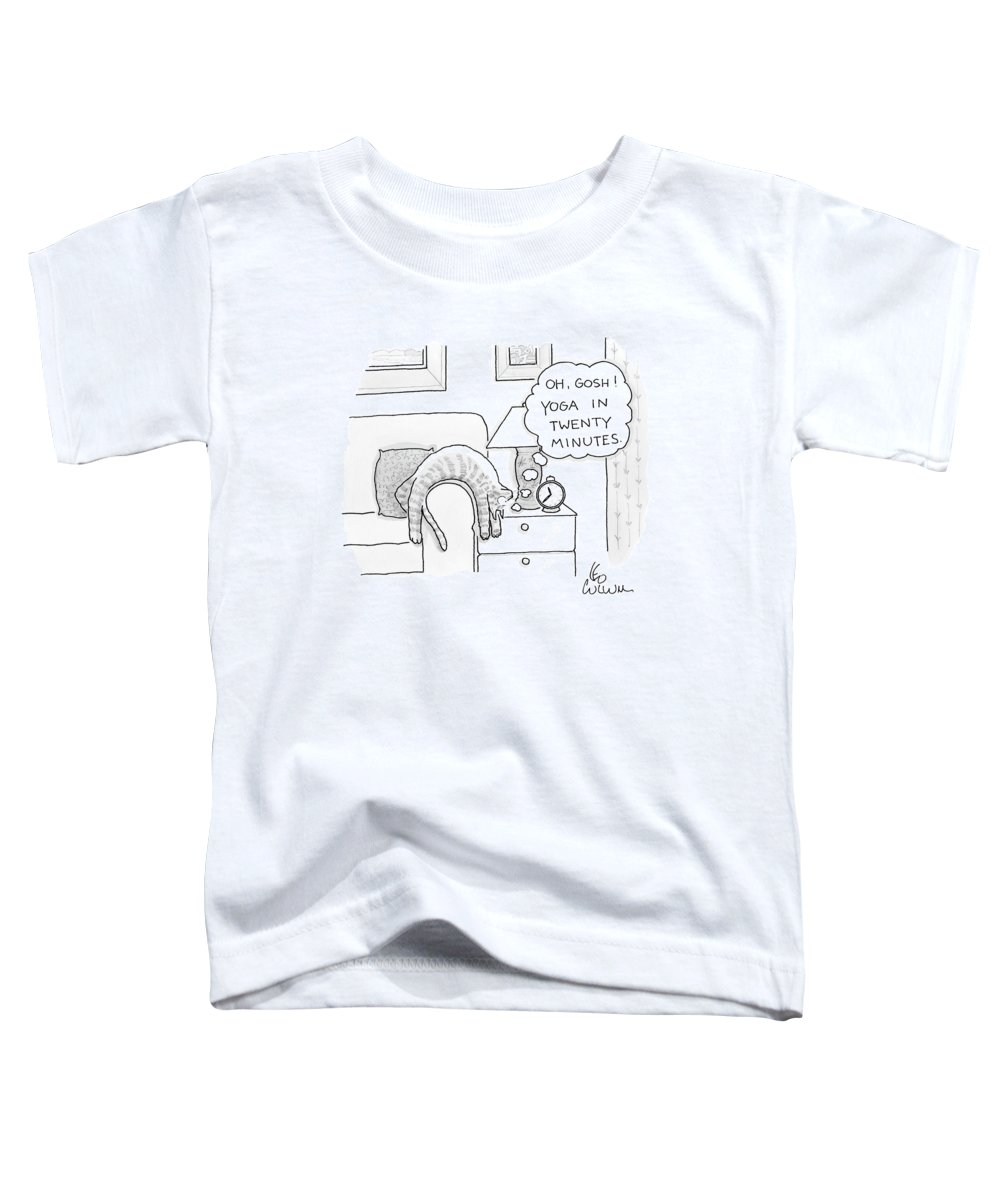 Cat Toddler T-Shirt featuring the drawing Oh Gosh Yoga In Twenty Minutes by Leo Cullum