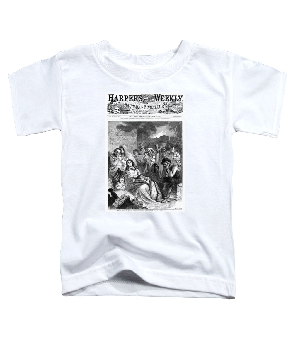 1871 Toddler T-Shirt featuring the drawing Chicago Fire, 1871 by Granger