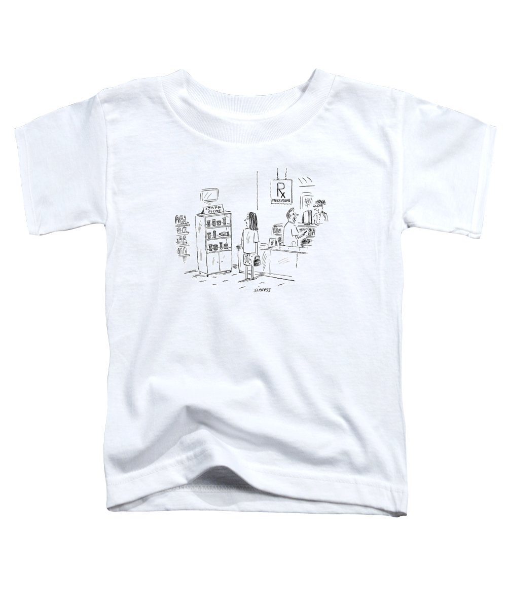 Drugs Medical Word Play Shopping Consumerism  (woman Looking At Prescription Drugs On Shelf Labeled Toddler T-Shirt featuring the drawing New Yorker August 23rd, 2004 by David Sipress