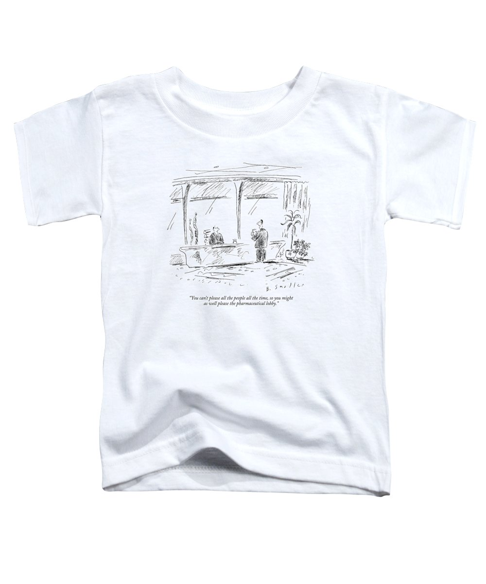 Politics Government Ethics   (advisor Talking To Politician.) 122537 Bsm Barbara Smaller Toddler T-Shirt featuring the drawing You Can't Please All The People All The Time by Barbara Smaller