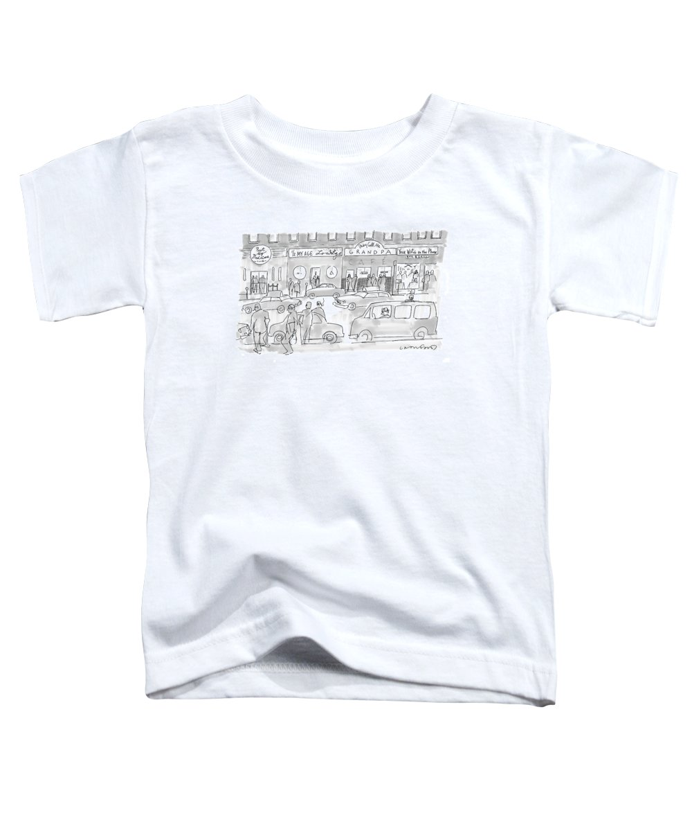 125054 (men Visiting Bars With Names Such As 'past My Bedtime Toddler T-Shirt featuring the drawing New Yorker March 31st, 2008 by Michael Crawford