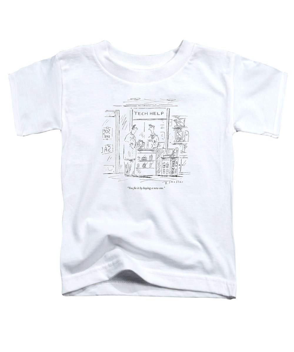 Consumerism Shopping Problems   (employee Talking To Customer At 'tech Help' Counter.) 121412 Bsm Barbara Smaller Toddler T-Shirt featuring the drawing You Fix It By Buying A New One by Barbara Smaller
