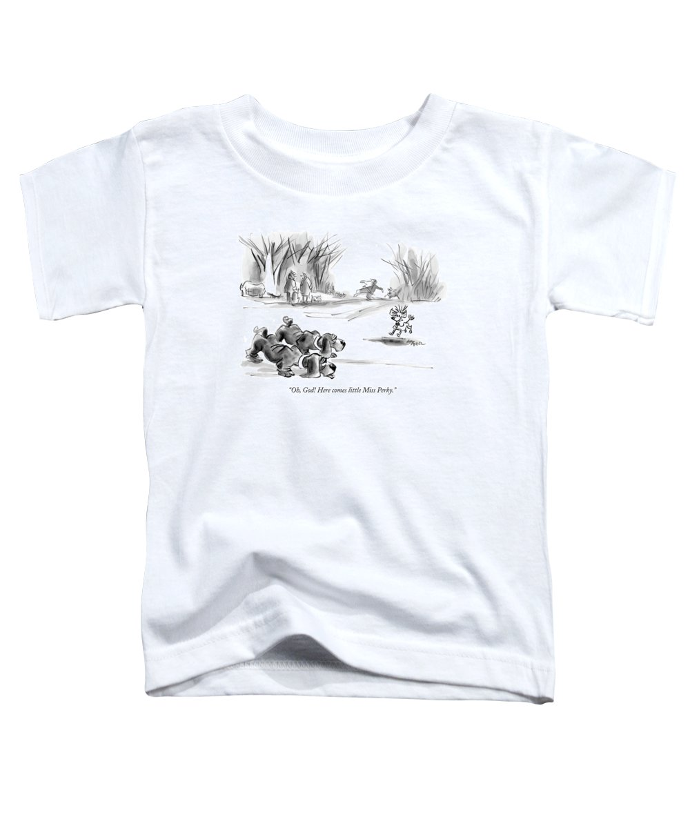 Dogs Talking Word Play  (two Bloodhounds Talking About Small Dog Running Toward Them.) 120679 Llo Lee Lorenz Toddler T-Shirt featuring the drawing Oh, God! Here Comes Little Miss Perky by Lee Lorenz