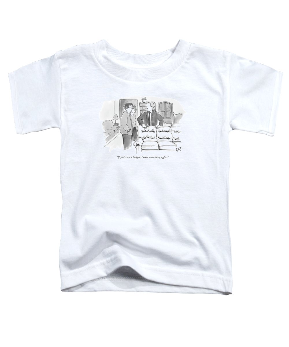 Consumerism Shopping Word Play Money Rich Poor Toddler T-Shirt featuring the drawing If You're On A Budget by Carolita Johnson