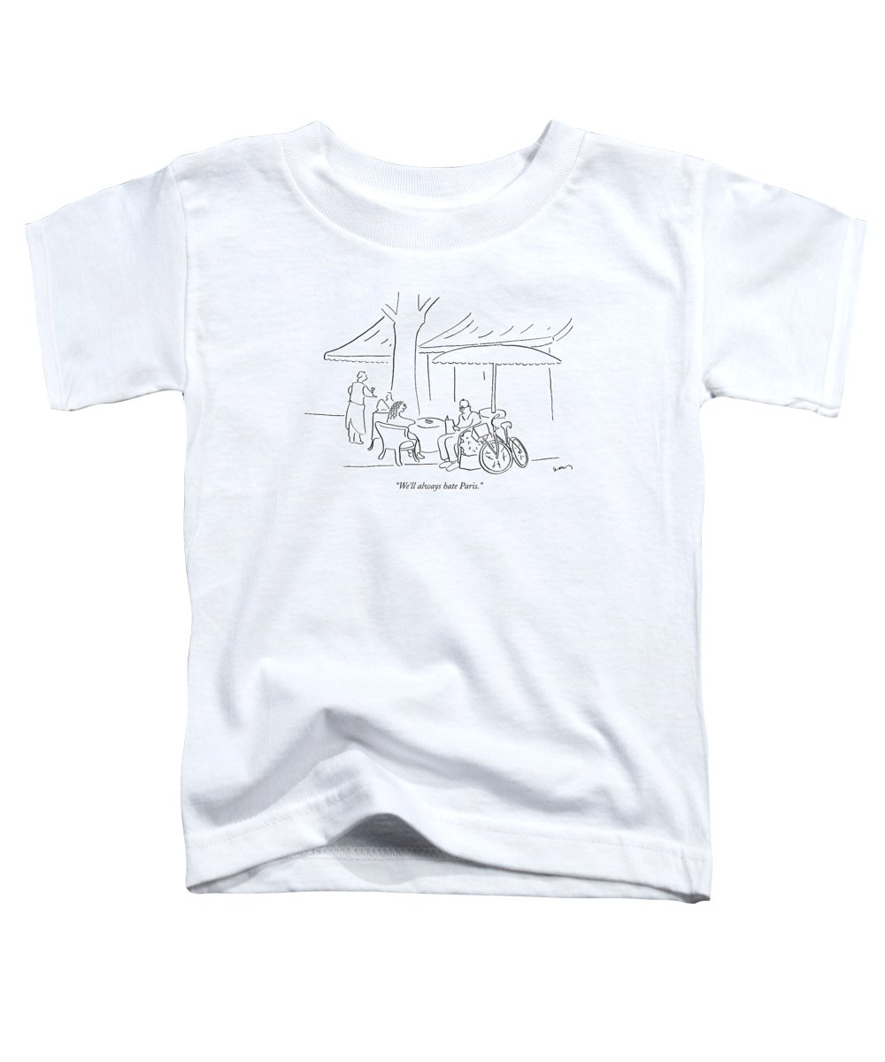 Regional France Problems Word Play  (couple At A Parisian Cafe.) 120540 Msh Michael Shaw Bicycle Bike Toddler T-Shirt featuring the drawing We'll Always Hate Paris by Michael Shaw