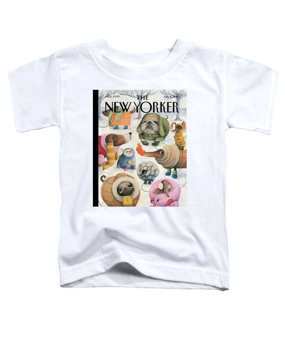 Baby It's Cold Outside Toddler T-Shirt featuring the painting Baby Its Cold Outside by Ana Juan