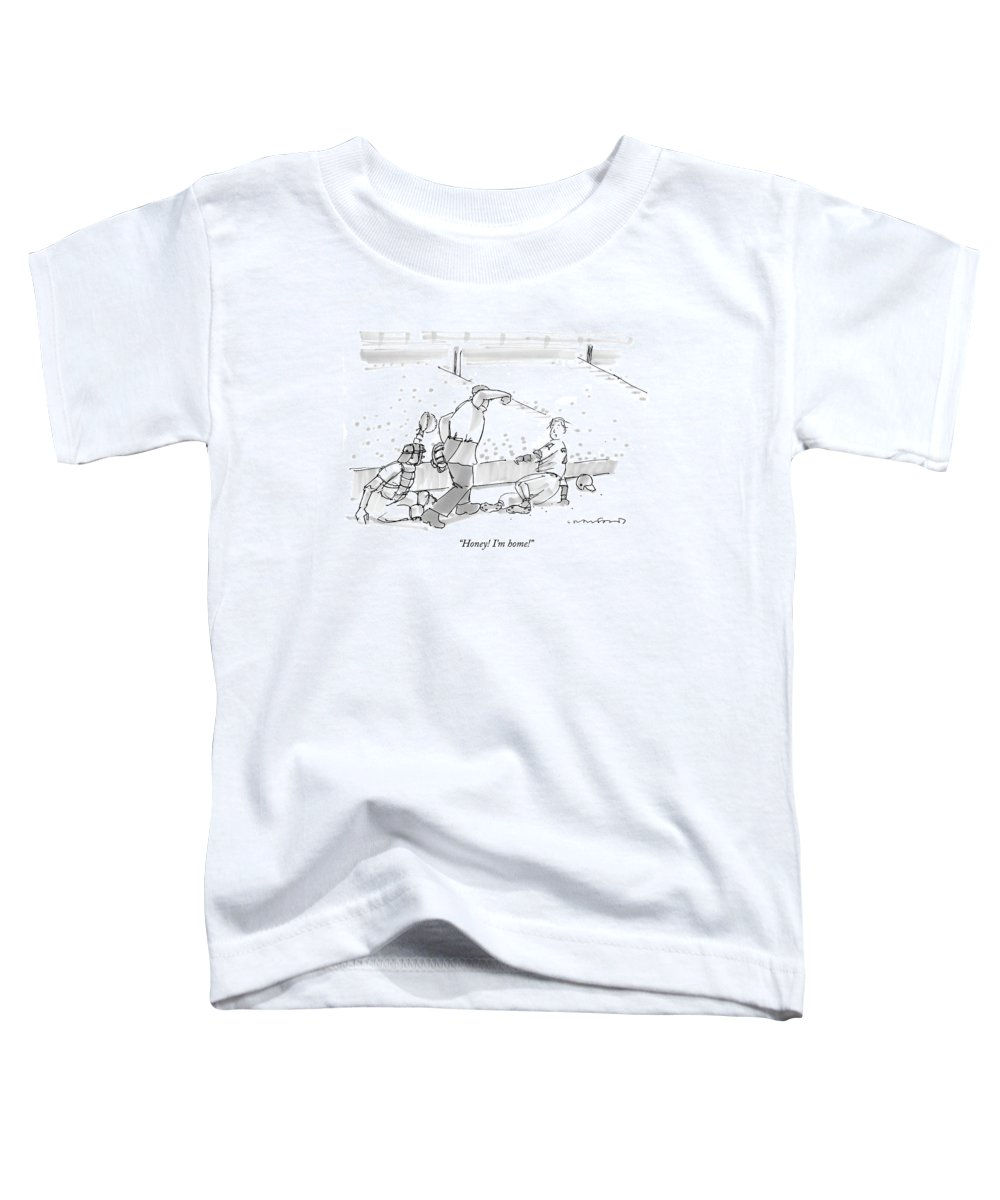 Sports Baseball Word Play  (player Sliding Into Home Base Toddler T-Shirt featuring the photograph Honey! I'm Home! by Michael Crawford