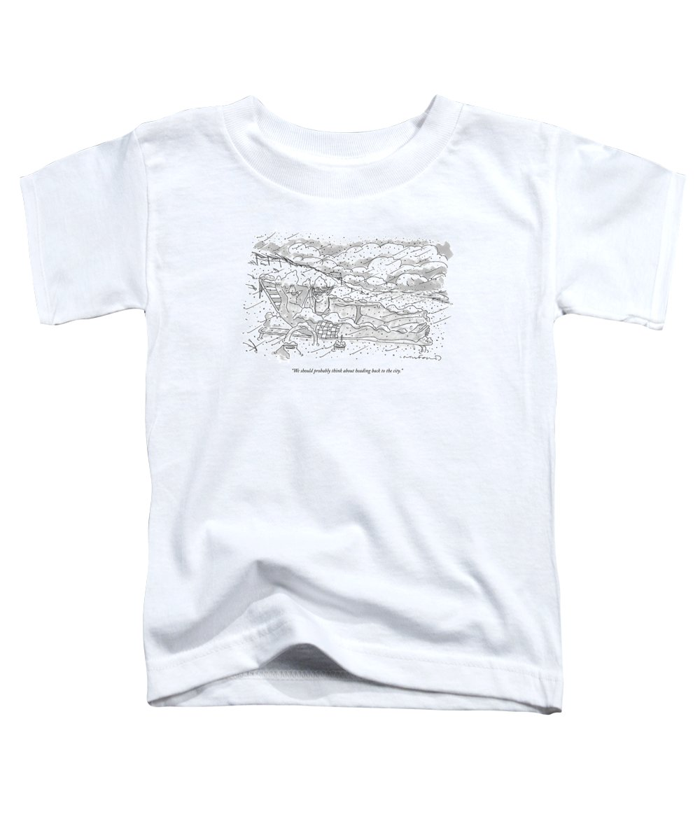 Seasons Winter Problems Vacations Leisure  (couple In Their Bathing Suits Toddler T-Shirt featuring the drawing We Should Probably Think About Heading Back by Michael Crawford