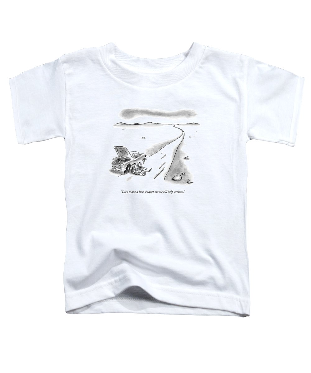 Stranded Toddler T-Shirt featuring the drawing Let's Make A Low-budget Movie Till Help Arrives by Frank Cotham