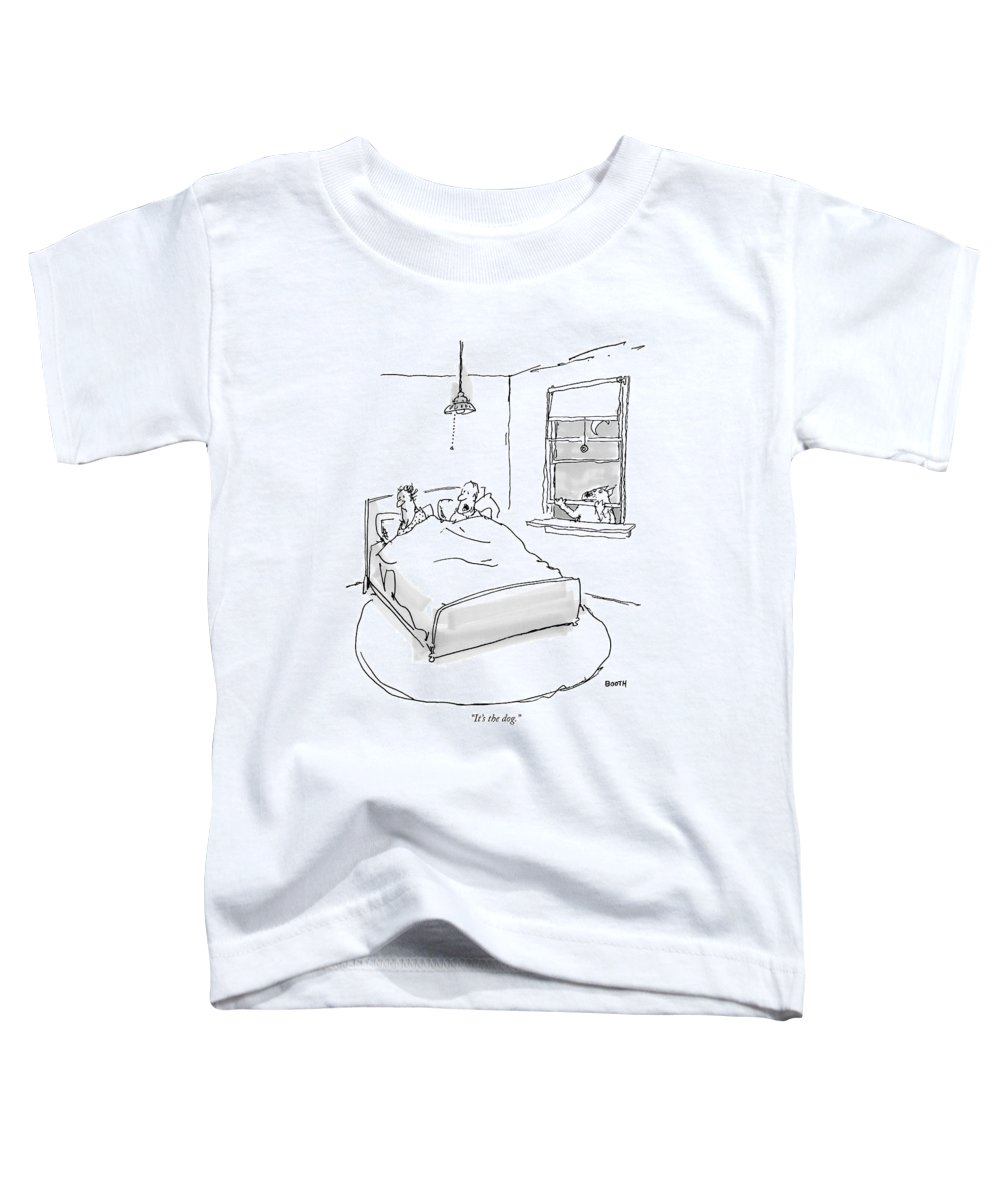 Pets Relationships Problems Toddler T-Shirt featuring the drawing It's The Dog by George Booth
