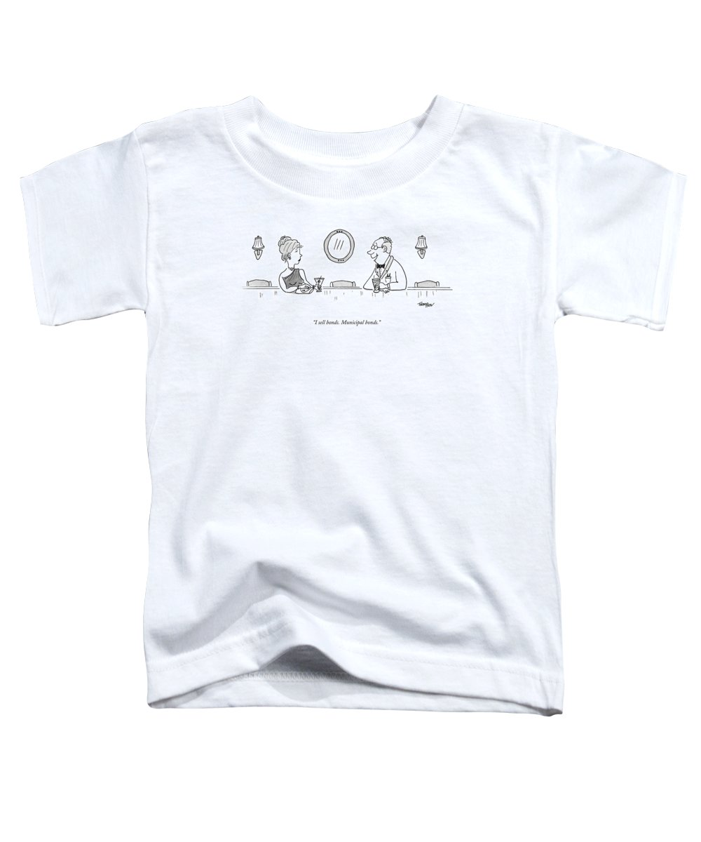 James Bond Toddler T-Shirt featuring the drawing A Bald Man At A Bar In A Tux Speaking by Mark Thompson