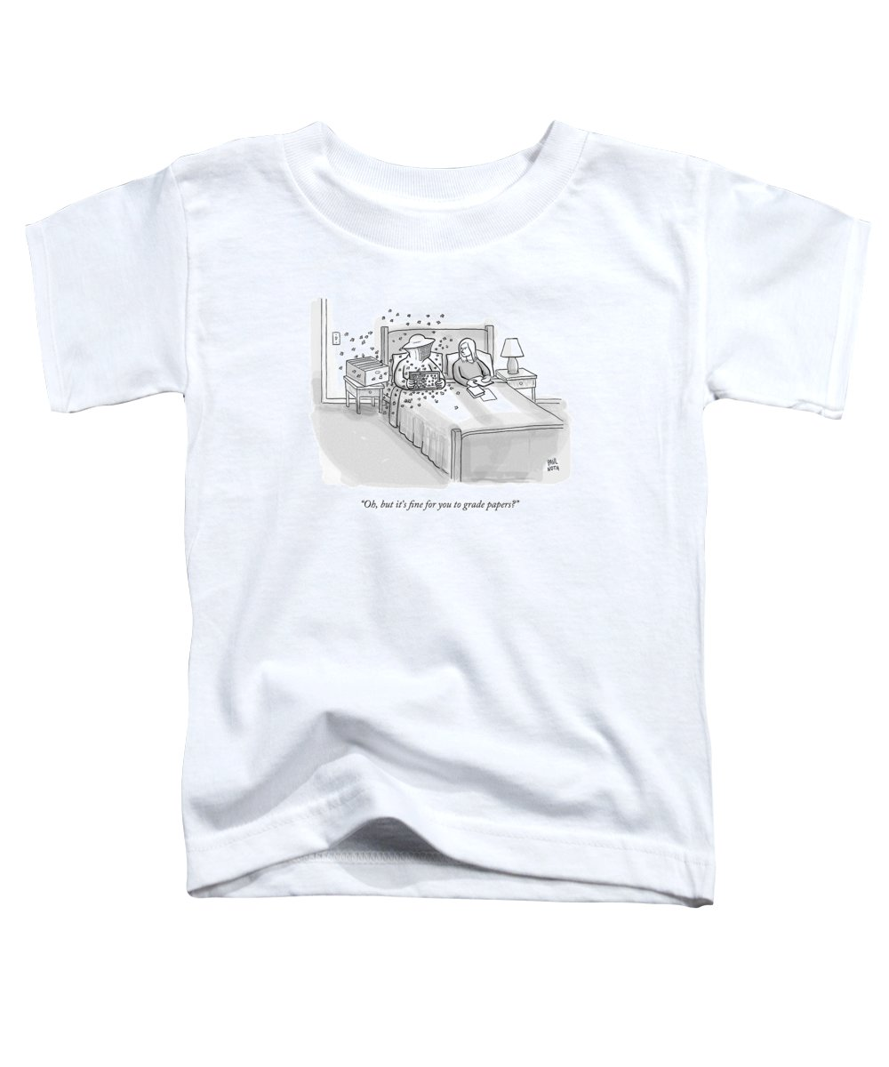 Bedroom Scenes Toddler T-Shirt featuring the drawing A Beekeeper Surrounded By Bees Is Sitting In Bed by Paul Noth