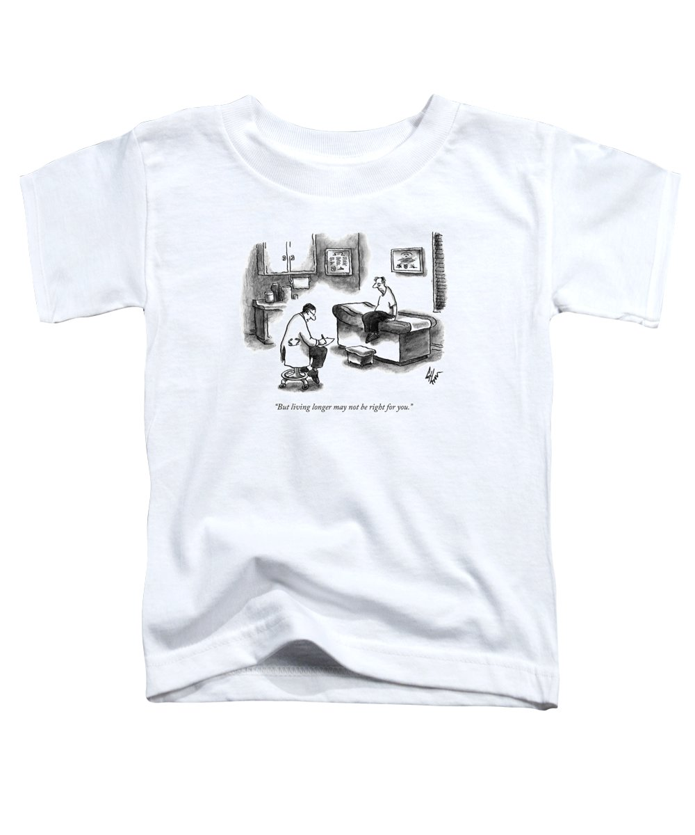 Doctor Toddler T-Shirt featuring the drawing A Doctor Sitting On A Stool And Writing On A Pad by Frank Cotham