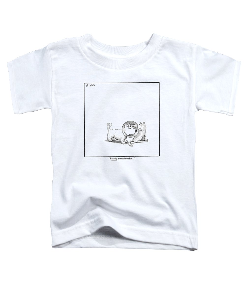 Dogs With Cats Toddler T-Shirt featuring the drawing A Dog With A Neck Cone Is Having His Head by Harry Bliss