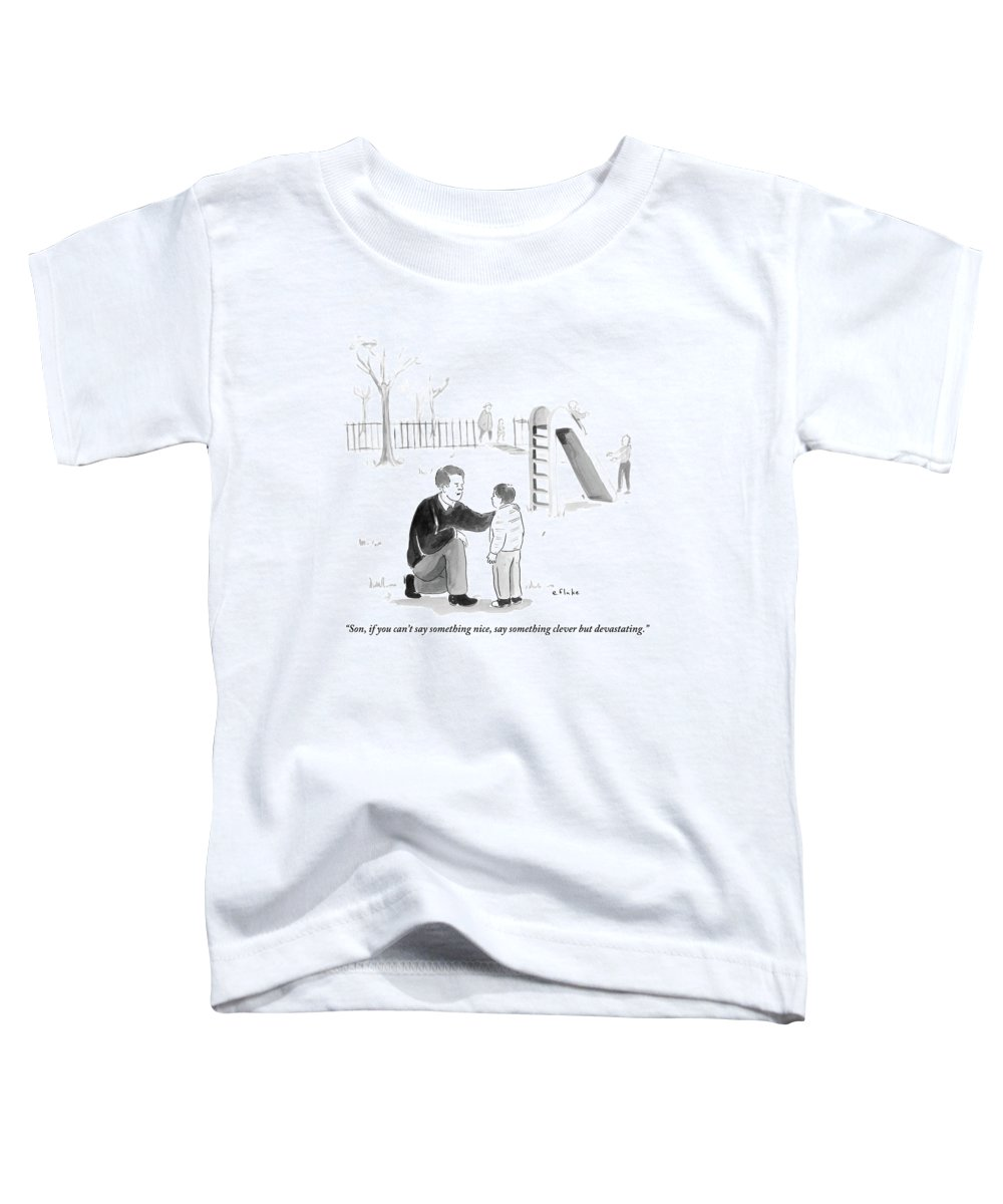 Advice Toddler T-Shirt featuring the drawing A Father Encourages His Son At The Playground by Emily Flake