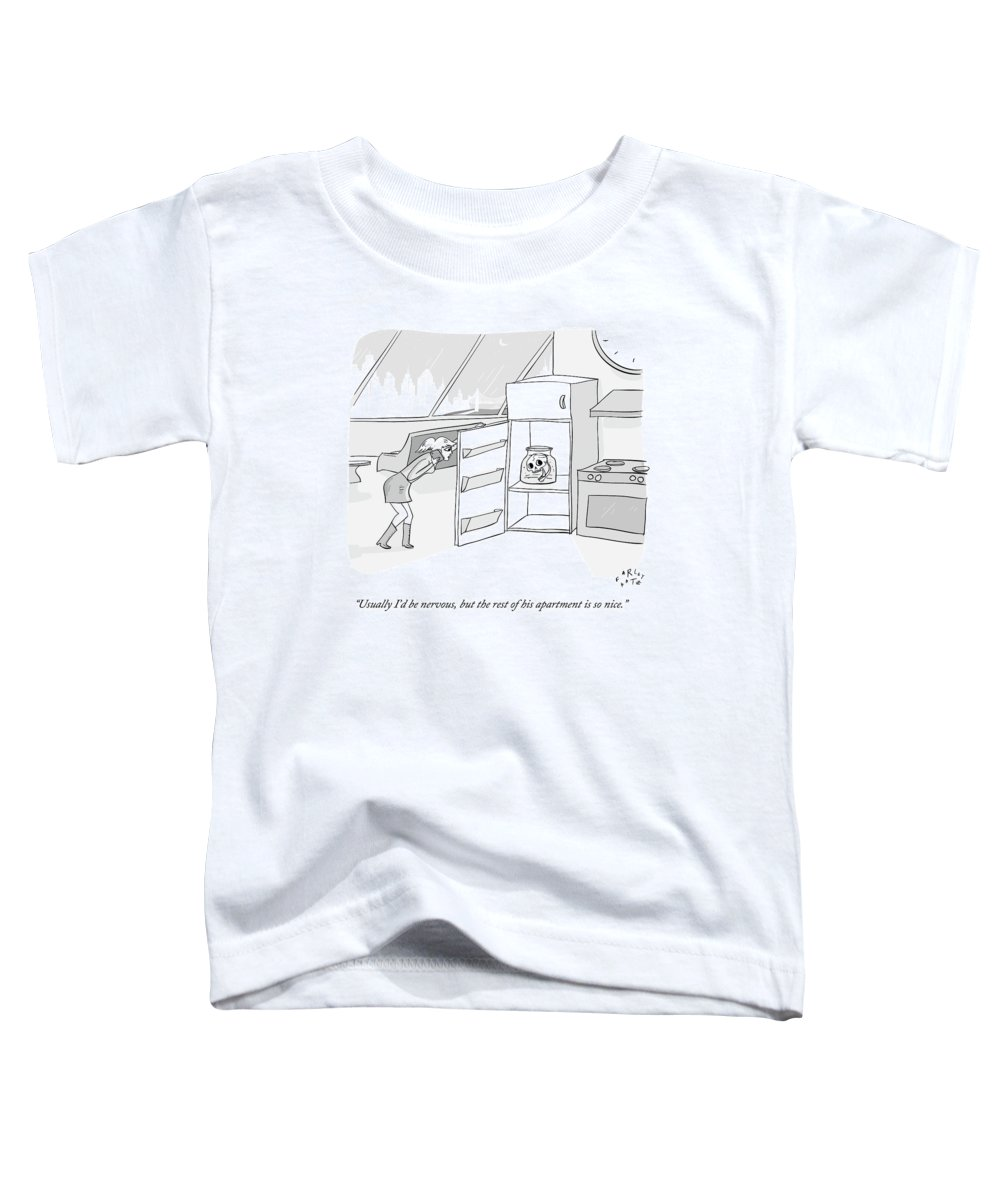Date Toddler T-Shirt featuring the drawing A Girl Who Is Talking On The Phone Opens A Fridge by Farley Katz