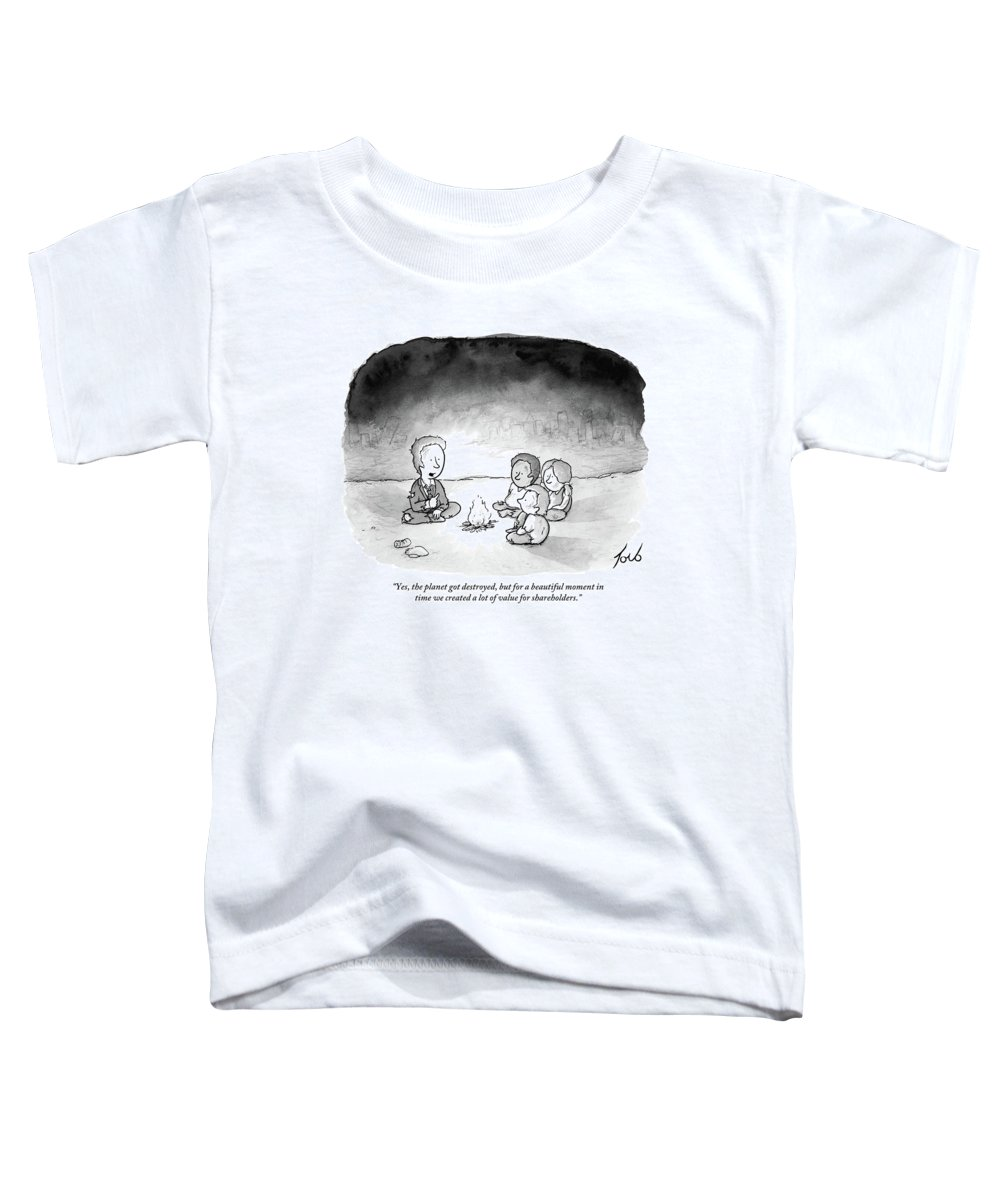 Yes Toddler T-Shirt featuring the drawing A Man And 3 Children Sit Around A Fire by Tom Toro